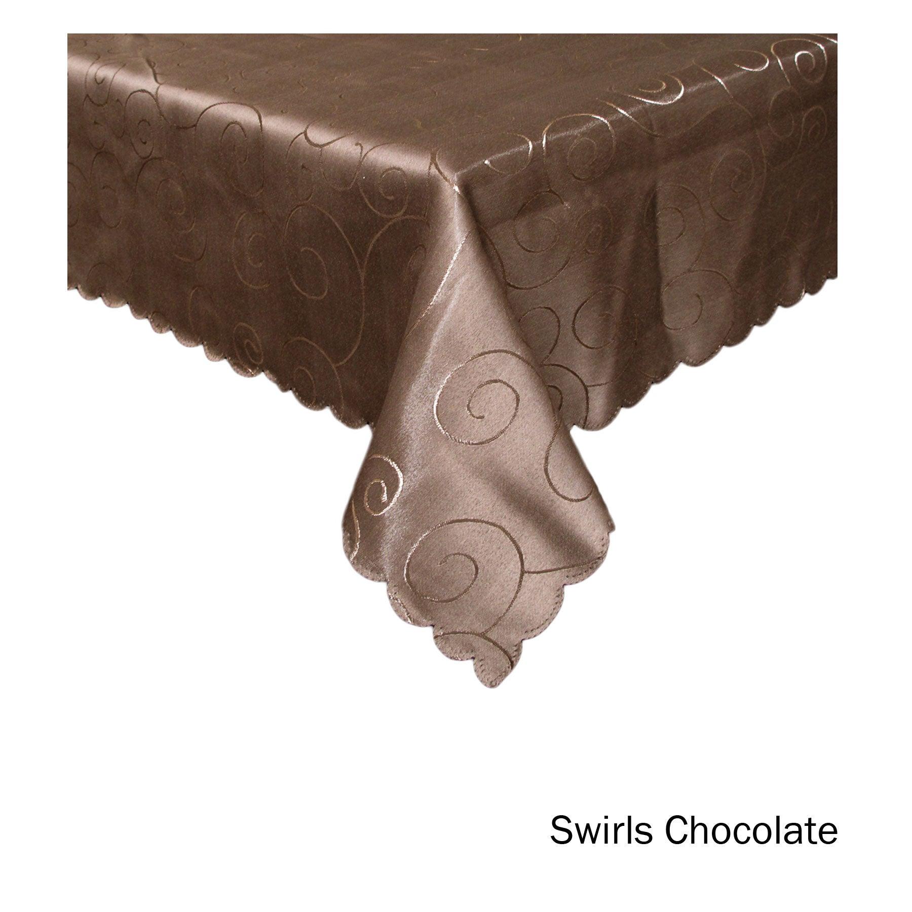 Jacquard Table Cloth Swirls Chocolate 180 cm Round