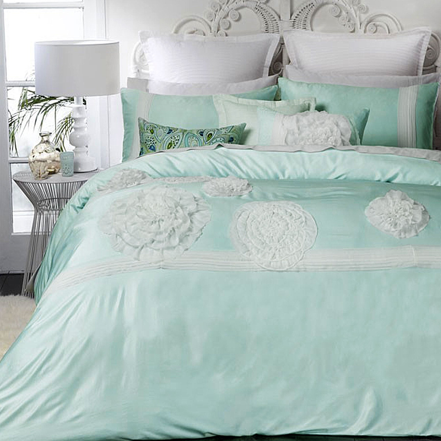 Platinum Collection Tiffany Mint Quilt Cover Set King