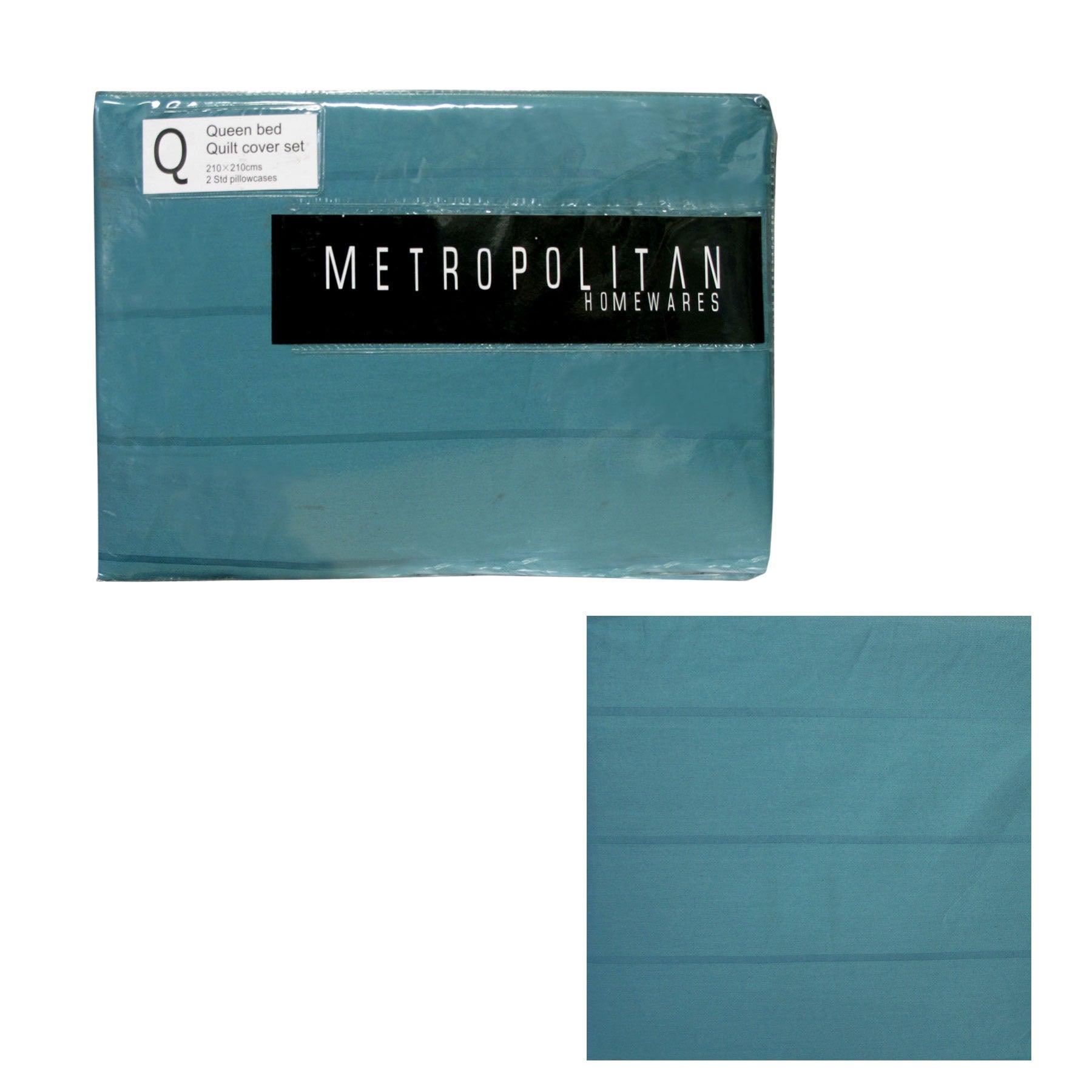 Teal Stripes Quilt Cover Set Queen by Metropolitan