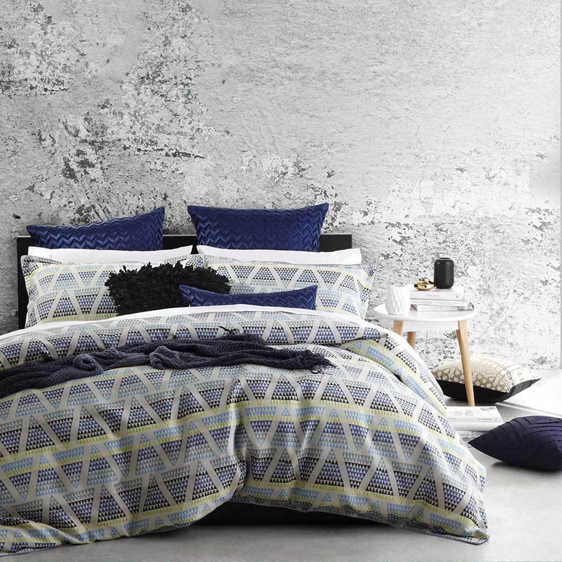 Zander Blue Quilt Cover Set King