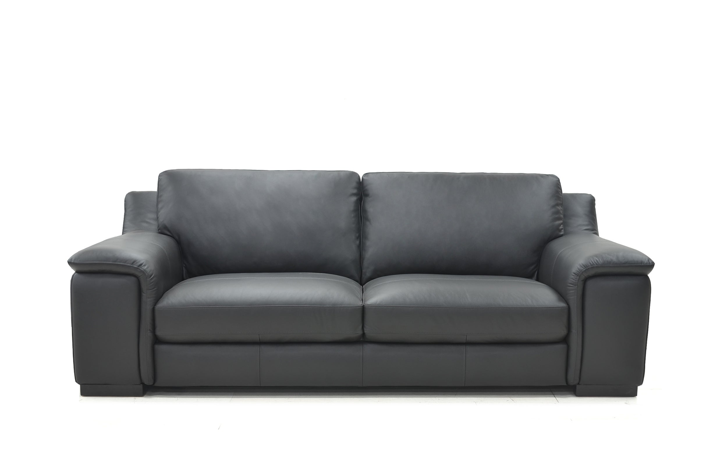 Horizon 2.5-Seater Full Leather Upholstered Lounge Sofa Couch Solid Wood Legs Frame-Graphite