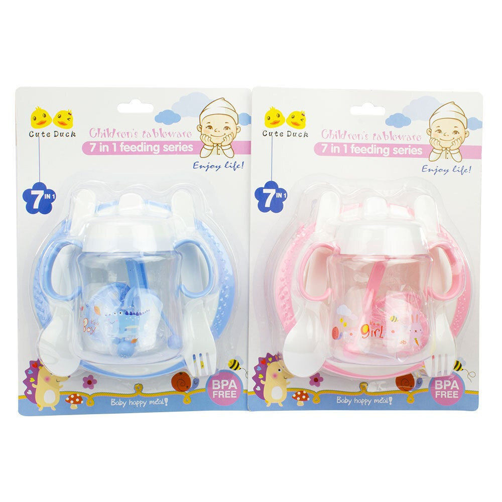 Baby & Me Baby Feeding Set 7 In 1 Assorted Colours Spoon Fork Plate Water Bottle