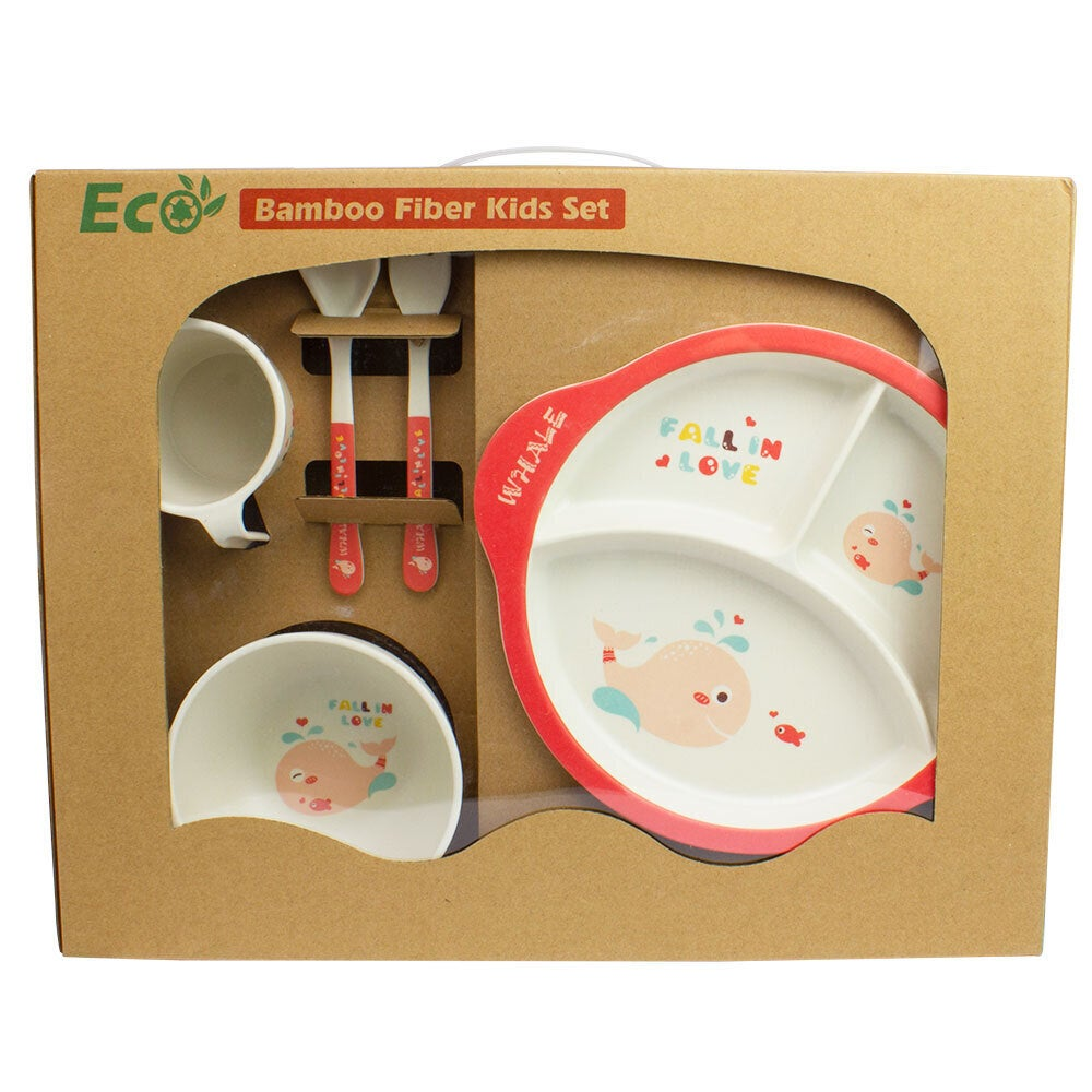 Baby & Me Bamboo Feed Set Eco Friendly Baby Kids Dinnerware Whale