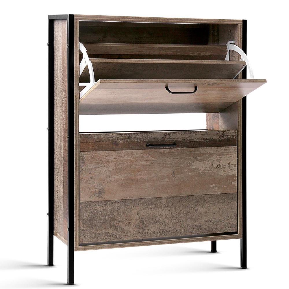 Wooden Vintage Shoe Rack Storage Cabinet - Wood