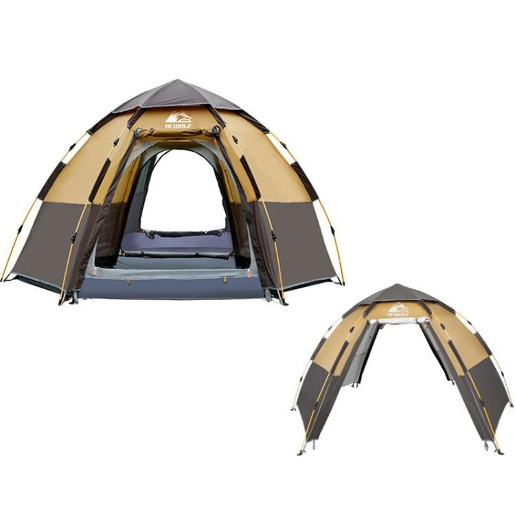 Bostin Life Hewolf Outdoor Camping Hexagonal Automatic Rain-proof Tent Flagship Version (Coffee)