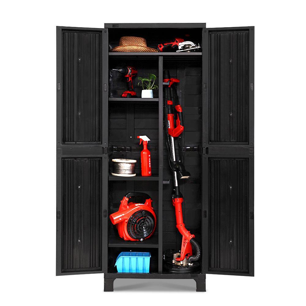 Tall Outdoor Lockable Adjustable Storage Cupboard Cabinet Black