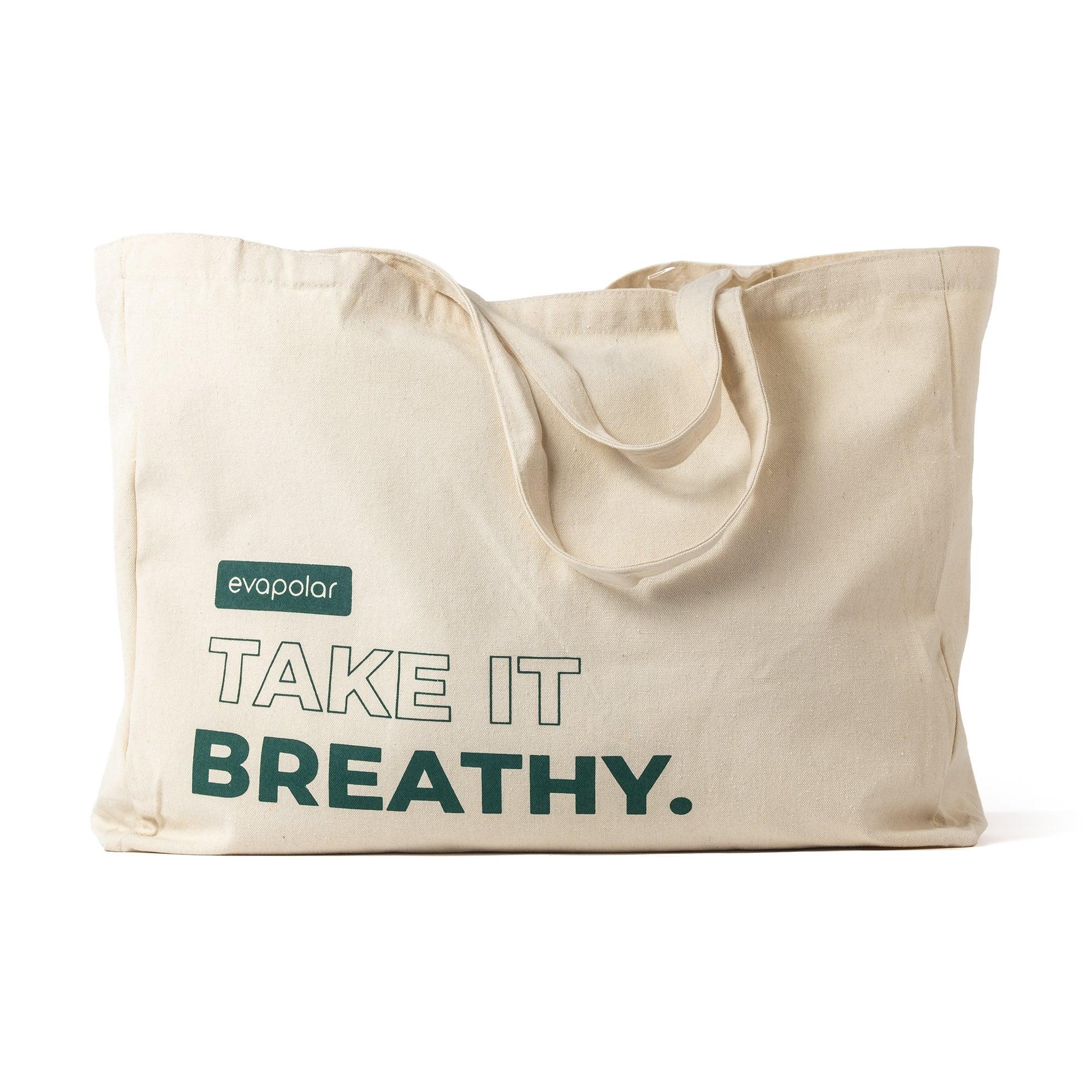 Evapolar evaBAG Cotton Tote Bag, Reusable Grocery Shopping Bag, Handy Bag, Ivory