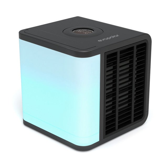 Evapolar evaLIGHT Plus Personal Portable Air Cooler and Humidifier, Desktop Cooling Fan, for Home and Office, with USB Connectivity and Colorful Built-in LED Light, Black