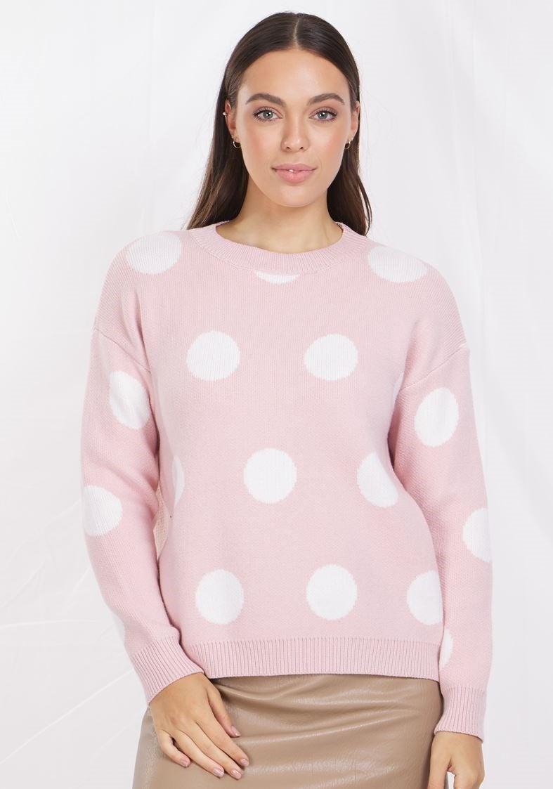Long Sleeves Polka Dot Print Knit Pullover