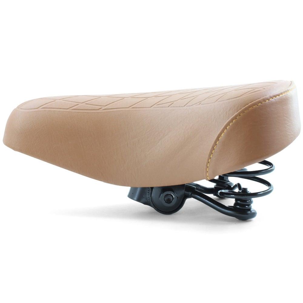 Ladies Retro Bike Saddle 250mm x 190mm Brown Vinyl Quilted Top Dual Coil Springs