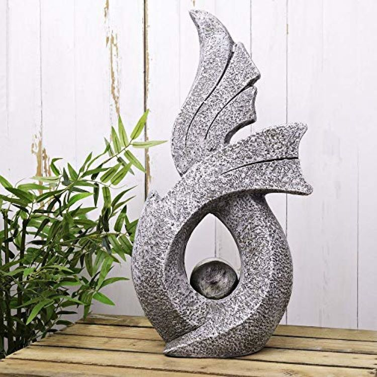 Concrete Effect Garden Sculpture with Stainless Steel Ball