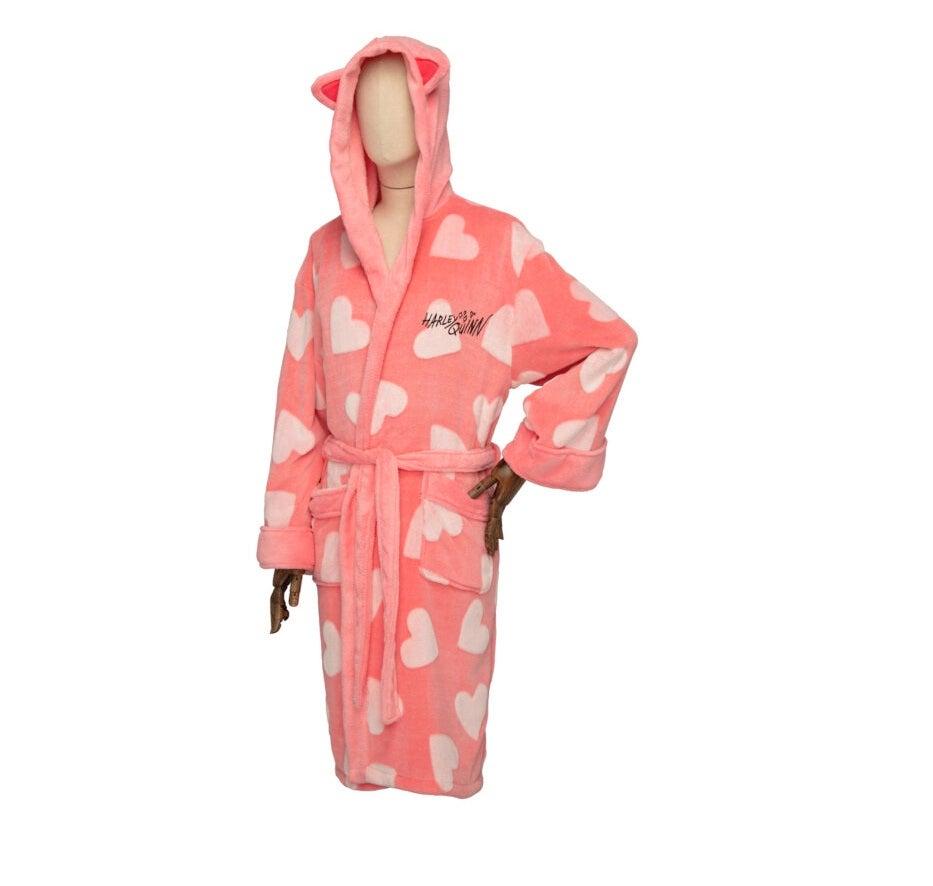 DC Comics Harley Quinn Birds of Prey Ladies Hooded Dressing Gown Robe Pink
