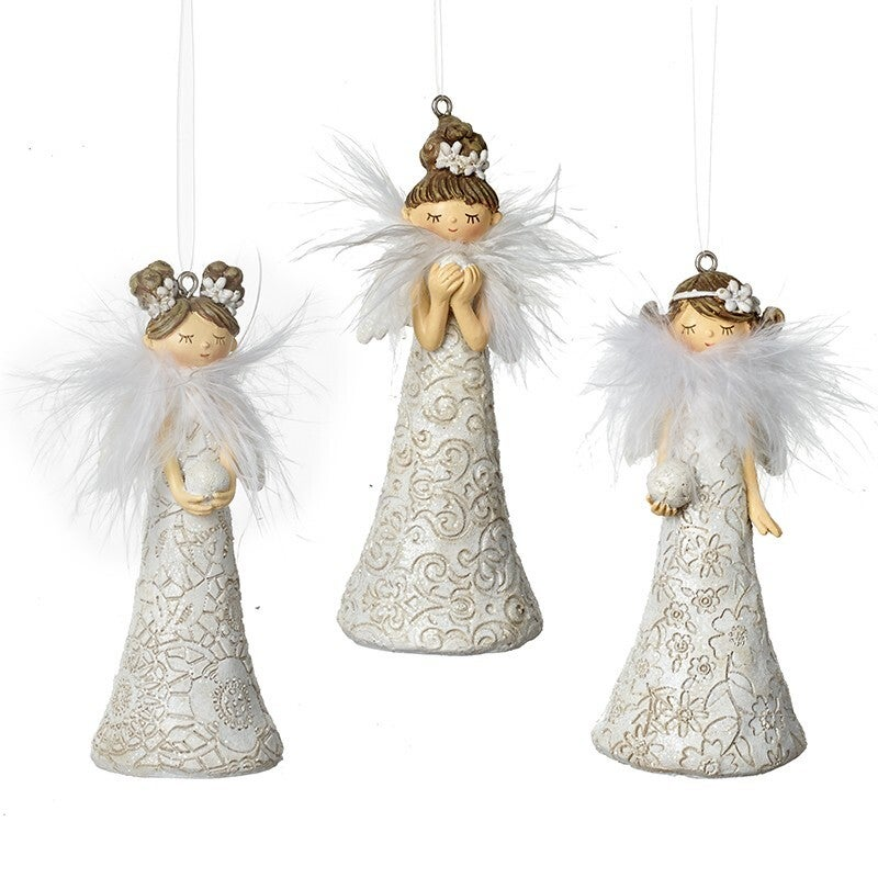 Hanging White Floral Angels Decorations (Set of 3)