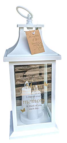 Thoughts of You White Memorial Lantern - Mum