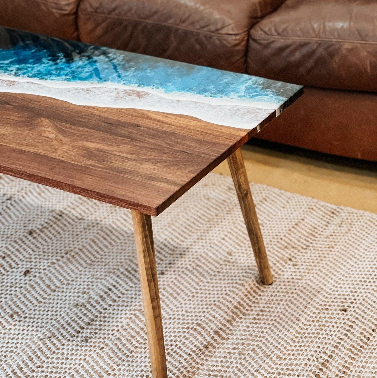 Merbau Ocean Art Resin Coffee Table