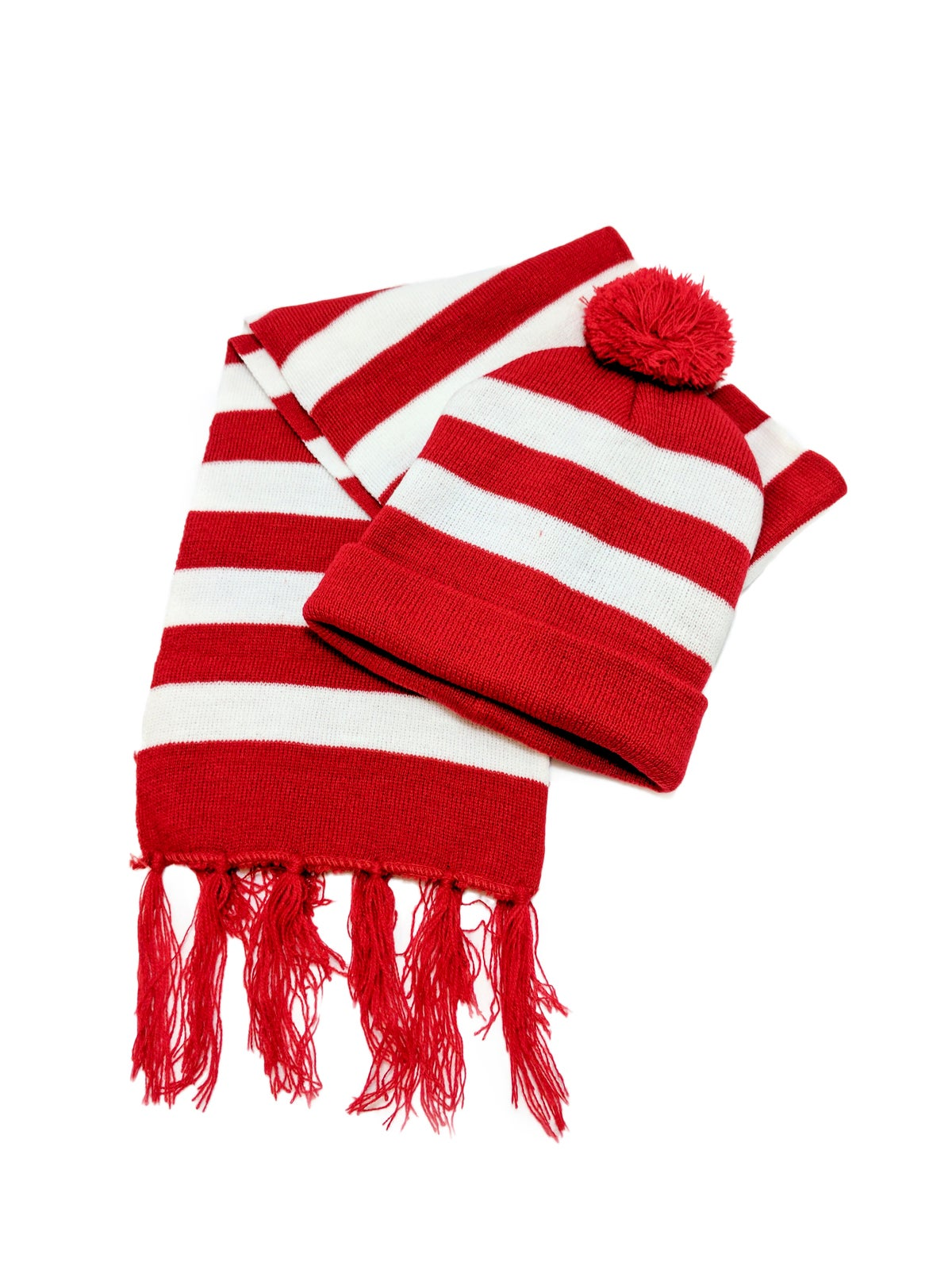 Red & White Striped Beanie & Scarf
