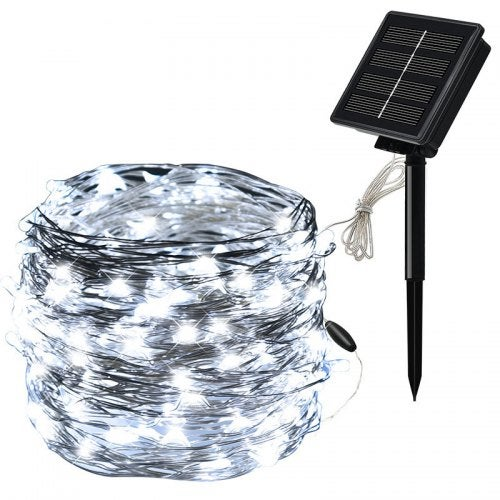 100LED Solar Copper Wire Light Silver Wire String Outdoor Waterproof Christmas Day Copper Wire Light- White 10 meters 100 lights