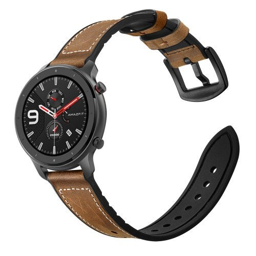 20/22mm Silicone Luxurious Leather Watch Band For Huami Amazfit GTR 42mm/47mm- Brown 20MM