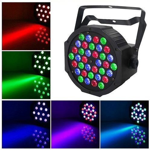 36W LED Par Lights Uplights Stage Lighting RGB DMX Lighting with Sound Control 7 ChannelEU Plug- No controller RGB