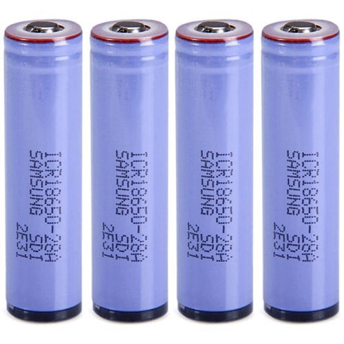 4 xICR18650-28A 3.7V 18650 2800mAh Protected Rechargeable Lithium - ion Battery- Blue 4 PCS