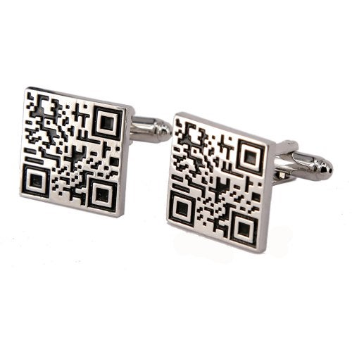 Alloy Material Paint Process Two-Dimensional Code Pattern Men Cufflinks- Silver 2pcs