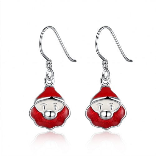 Another Silver Christmas Theme - Red Santa'S Drop Earrings- Silver