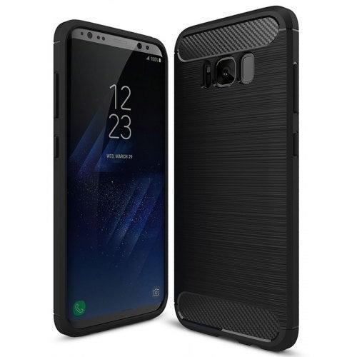 ASLING Carbon Fiber TPU Back Protective Case for Samsung Galaxy S8- Black