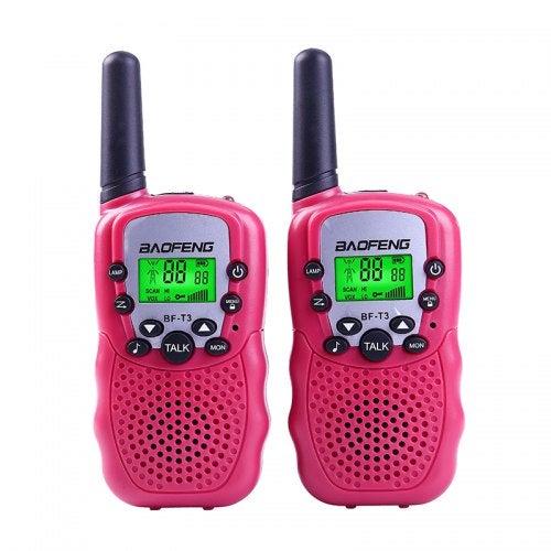 BaoFeng BF-T3 2pcs Walkie Talkie Mini Radio 2W UHF 462-467MHz Convenience Children Two Way Radio- Pink