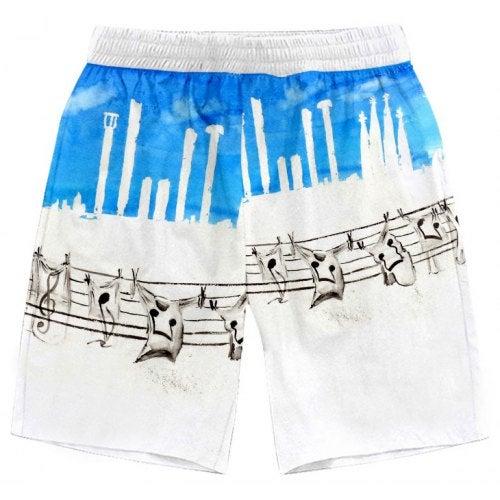 Beach Shorts Fashion Casual Musical Note Round Printing Pattern- XXL N020973M04 China