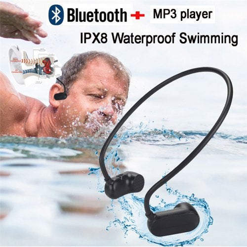 Bone Conduction Bluetooth 5.0 With MP3 Player IPX8 Waterproof Swimming Outdoor Sport Earphones MP3- Black 8GB