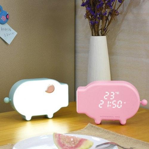 Cartoon Pig Snooze Clock Thermometer Alarm Night Light- Pink