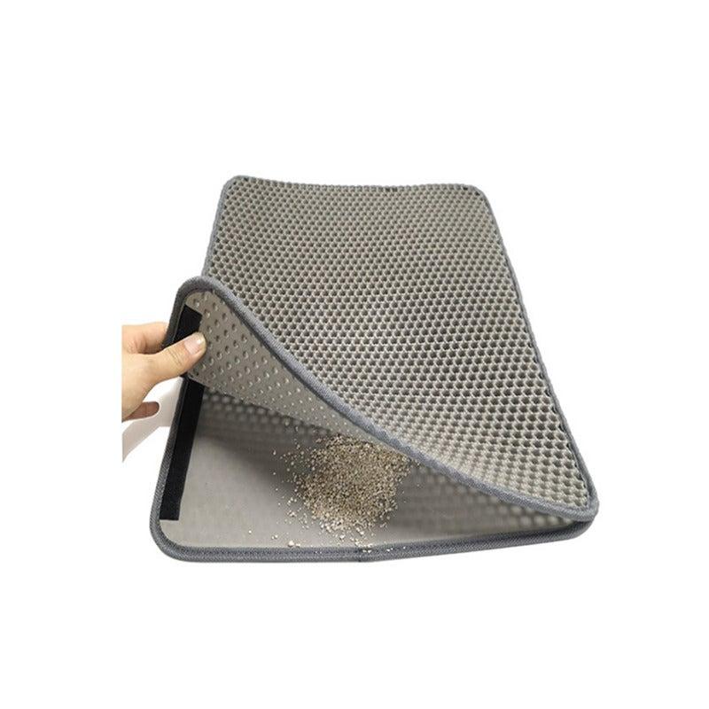 Cat Litter Mat, Kitty Litter Trapping Mat, Litter Box Rug Carpet, Honeycomb Double Layer, No Phthalate, Urine Waterproof,Litter Trapper Catcher-GRAY