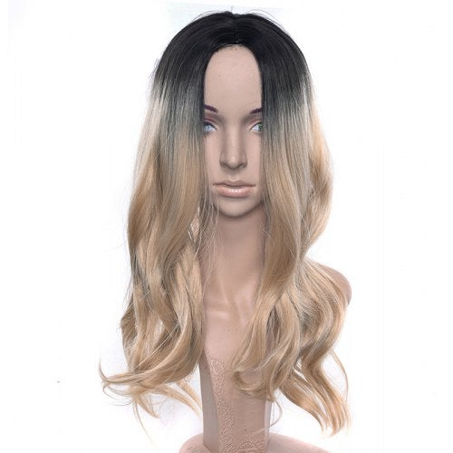 Central Parting Hair Style Gradient Ramp Big Wave Long Wig- Tan