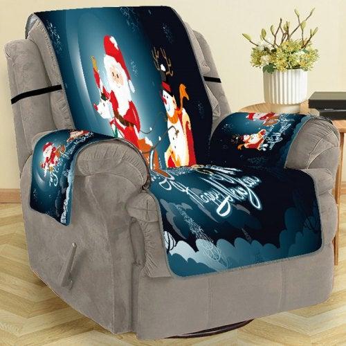 Christmas Decoration Home Sofa Cover- Dark Slate Blue Single Seat