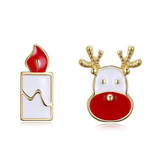 Christmas Oil Dripping Santa Claus Candle Earring Plated with Gold- Gold