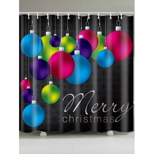 Colored Balls Printed Waterproof Christmas Shower Curtain- Colorful W59 inch * L71 inch