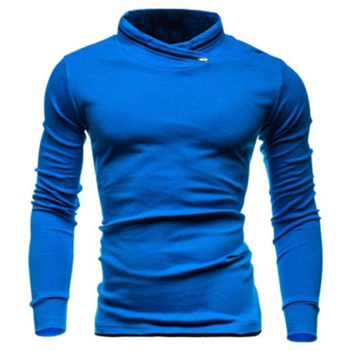 Contracted Keep Warm Casual T-shirt for Men- Cobalt Blue XL