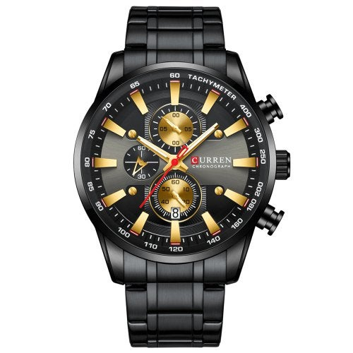 CURREN 8351 Men's Six-pin Water-resistant Multifunctional Quartz Watch Round Dial Calendar- Golden brown