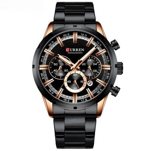 CURREN Men's Round Belt Watch Waterproof- Black
