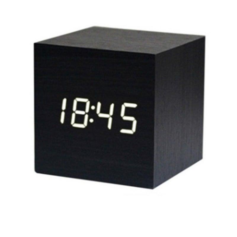 Digital Alarm Clock Wooden LED Light Multifunctional Modern Cube Displays Date Temperature for Home Office Travel-BLACK