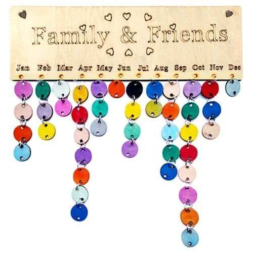 DIY Colorful Wooden Family And Friends Birthday Calendar Board- Round