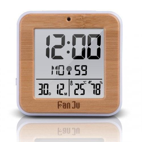 FanJu FJ3533 Small Digital Alarm Clock with Dual Alarm Night Light Tempertature Humidity Snooze Wood- China