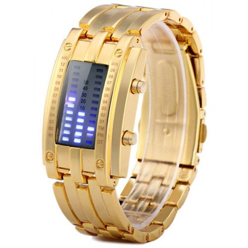 Gold LED Watch Bracelet Date Display Stainless Steel Body- Golden