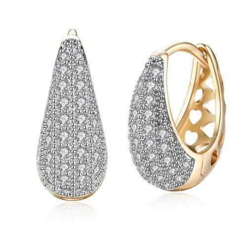 K Gold Zircon Earring Teardrop-Shaped Diamond Insert Romantic Wind Earring Clip- Champagne Gold