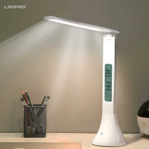 LAOPAO LED Touch Desk Lamp Foldable with Calendar Temperature Alarm Clock table Light- white 3.5w China
