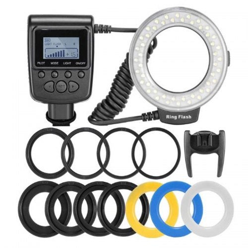 LED Ring Flash Light Speedlight For Nikon Canon Olympus Pentax Fujifilm DSLR Cameras Shoe Flash- Black