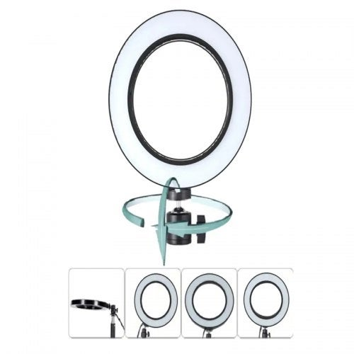 LED Ring Light Dimmable with 3 Lights Mode 360 Degree Rotating 8 Inches USB Beauty Soft Light- Black