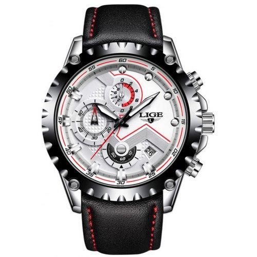 LIGE Men Luxury NEW Creative Elegant Business Leather Quartz Dress Watches- White