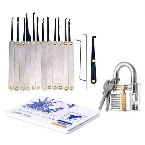 LOCKMALL Lock Pick Practice Tool Set for Locksmith- Silver
