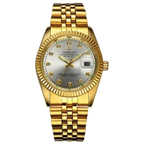 Men Luxury Beautiful Sparkle Diamond Noctilucent Military Watch- White